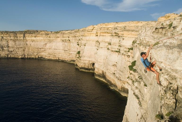 Malta tiene lugares muy bellos para practicar la escalada