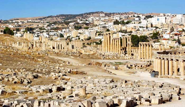 Vista de la antigua ciudad romana de Jerash, en Jordania