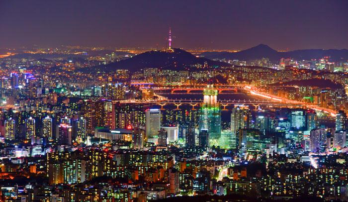 Panorámica noctuna de Seúl