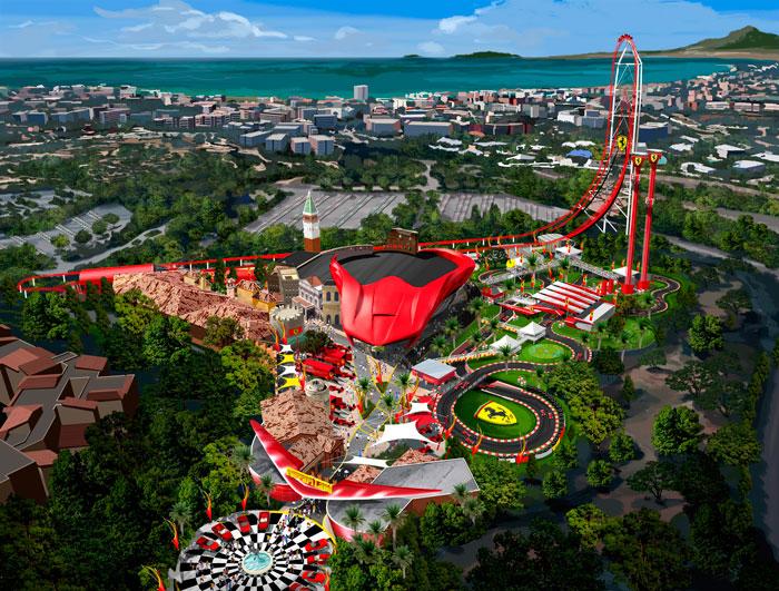 Vista aérea del proyecto Ferrari Land