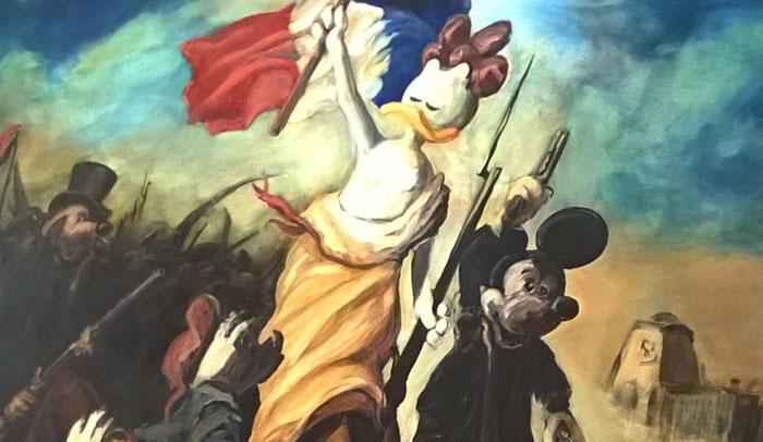 """Versión del cuadro de Delacroix """"La libertad guiando al pueblo"""" de la exposición Open Museum #2 Donald."""