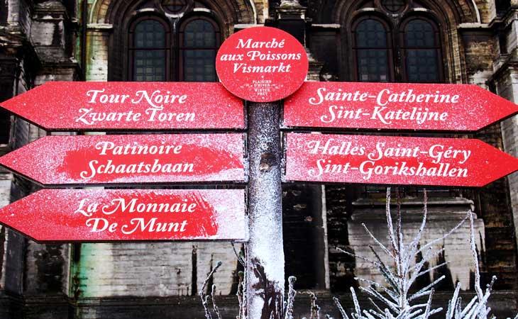 Carteles navideños de Bruselas. Foto Marta Pintus.
