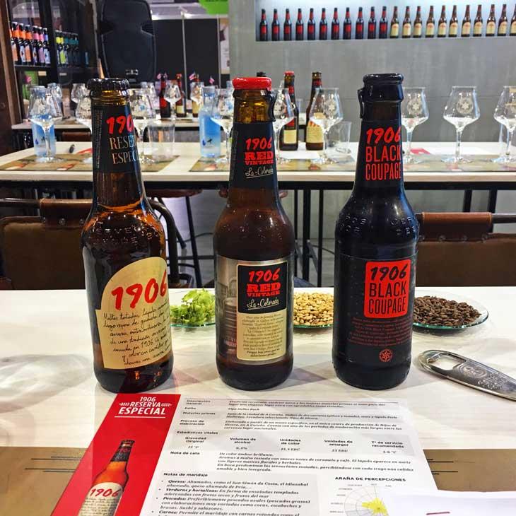 Cata comparada de cerveza de la familia 1906 de Estrella de Galicia