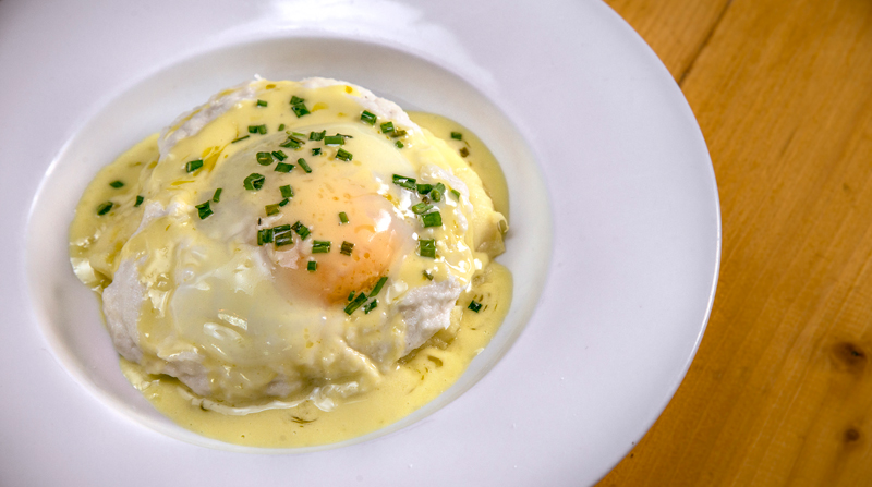 Brandada de bacalao Skrei, pil pil y huevo