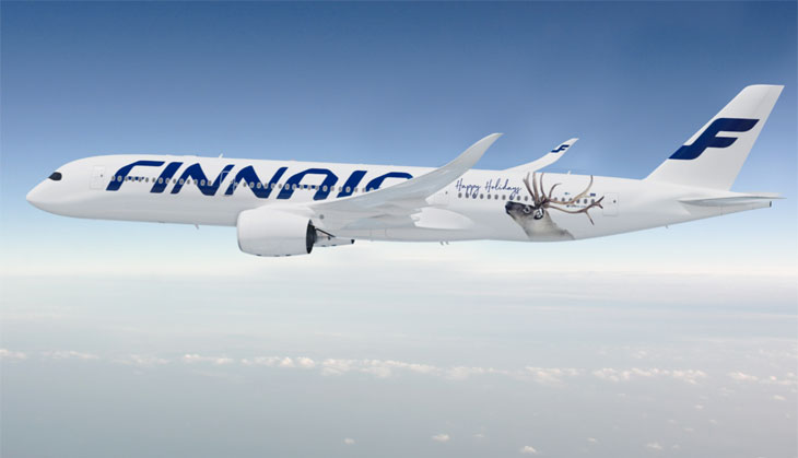 A350 de Finnair decorado con un reno