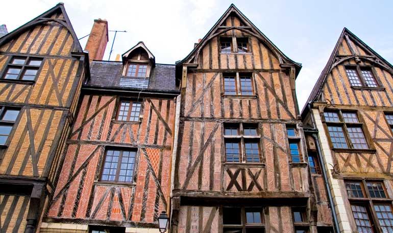 Casas en Tours. Las fachadas son muy habituales en las ciudades del Valle del Loira
