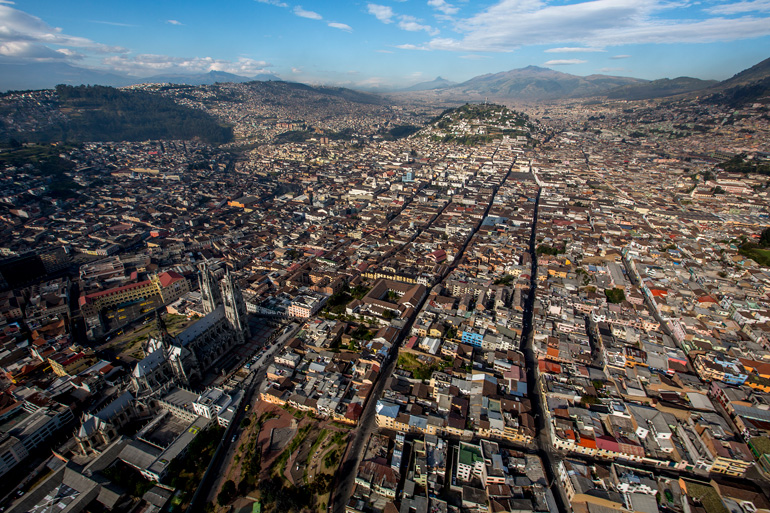 Vistas aéreas del centro histórico de Quito