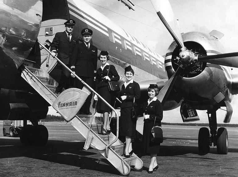 Tripulación de Finnair en los años sesenta