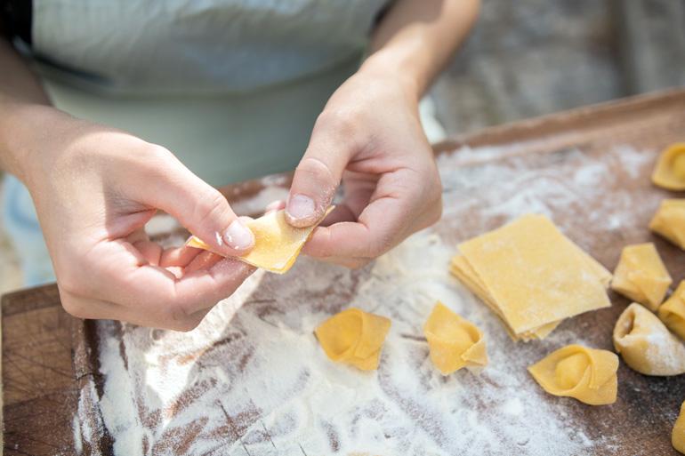 Preparación de los deliciosos tortellini