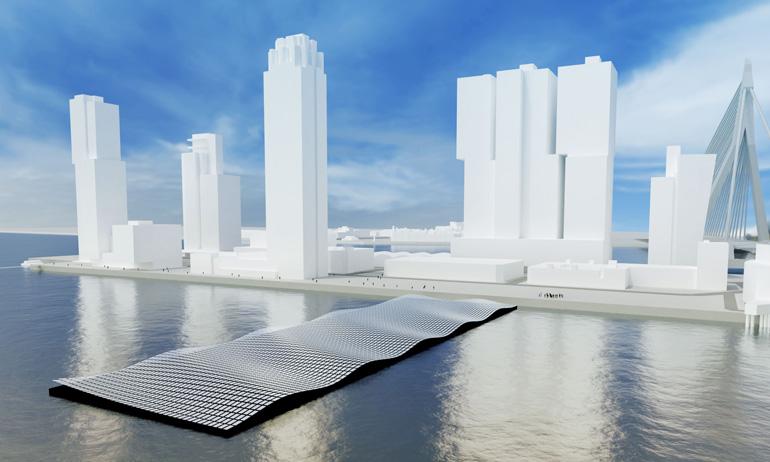 Parque solar flotante sobre el río Maas, en el antiguo puerto de Rijnhaven
