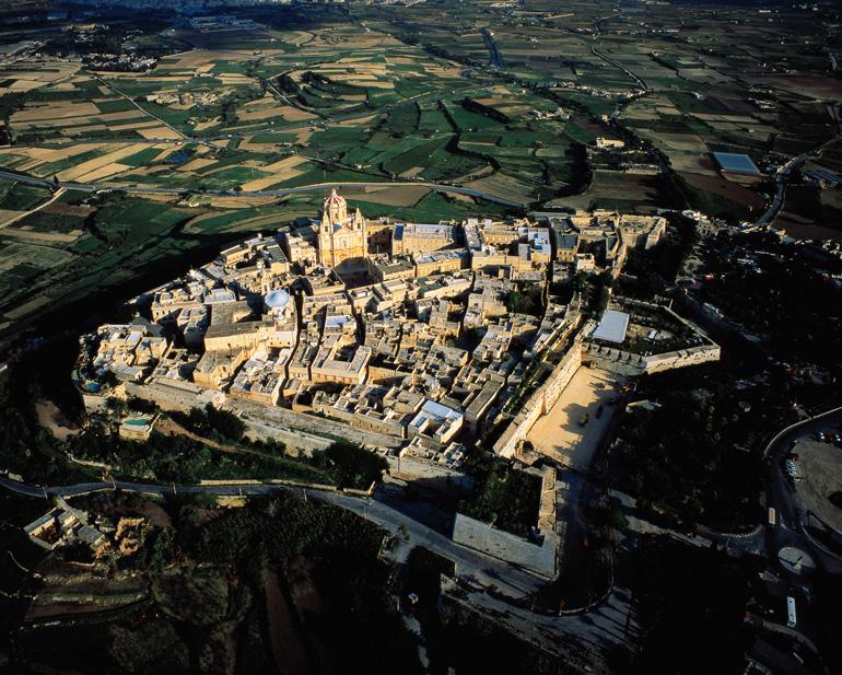 Vista aárea de Mdina, en Malta