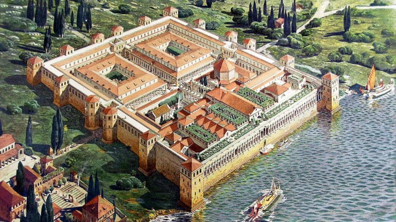 Dibujo del Palacio de Diocleciano en la antigüedad