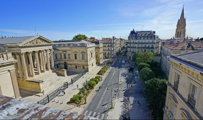 Vistas de Montpellier desde el arco de Triunfo