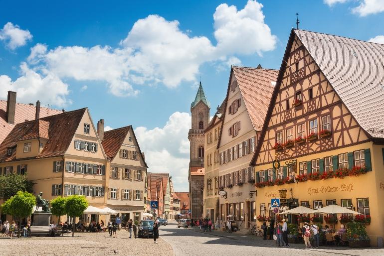 Plaza de Mercado de Dinkelsbühl, en la Ruta Romántica
