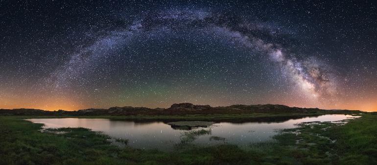 Via Láctea desde la Lagoa das Tablillas, A Veiga