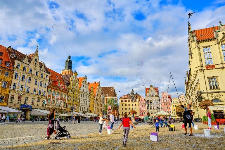 Plaza histórica del Mercado de Wroclaw