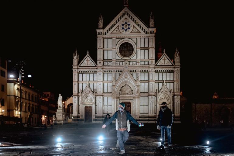 Vista nocturna de Florencia
