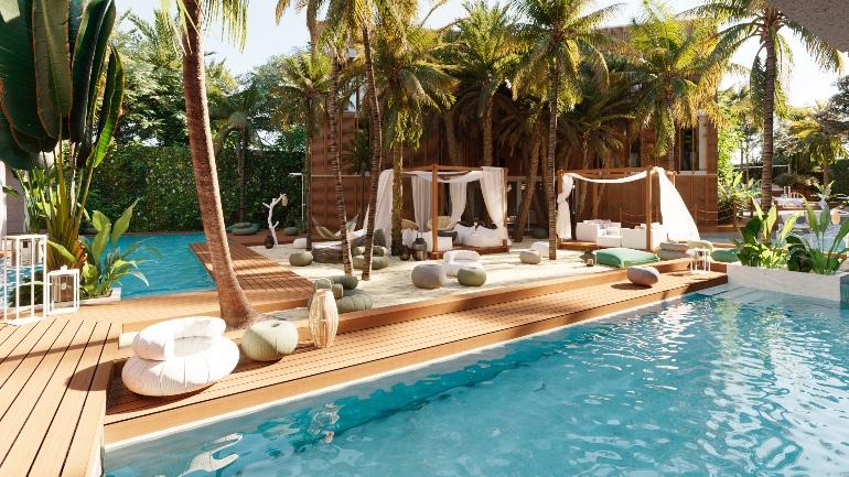 Zona de relax con piscina en Nativo Hotel Ibiza